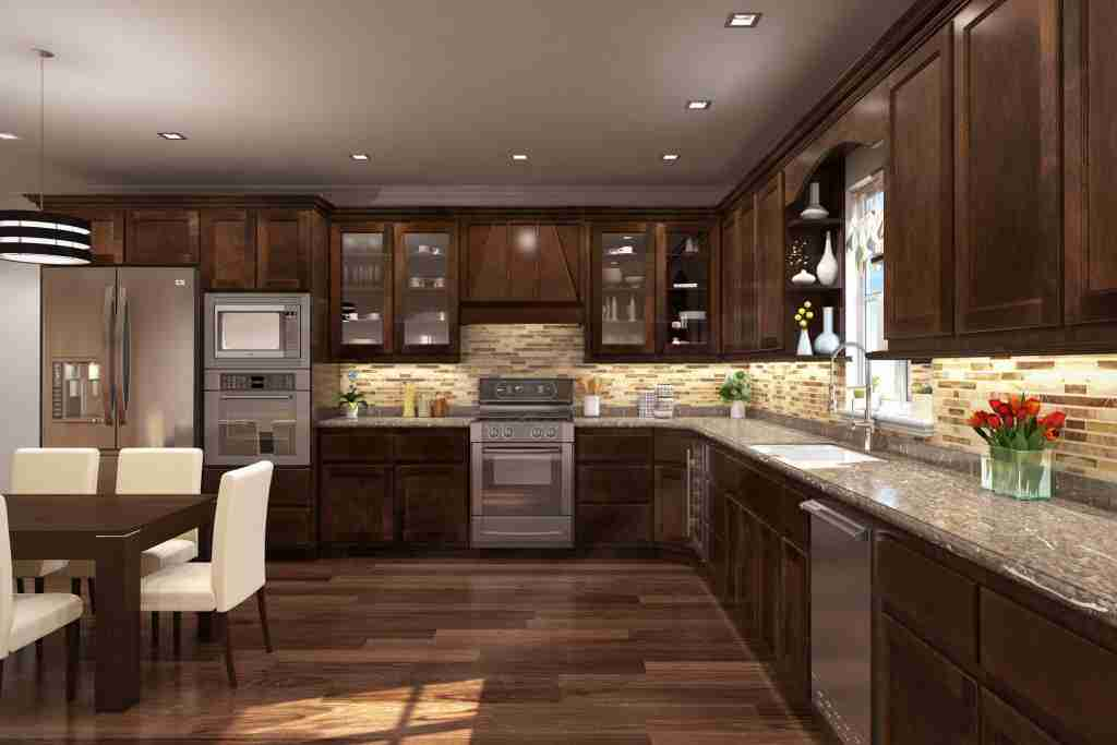 Cubitac Cabinetry Dark Brown Cabinets in Kitchen with Countertop