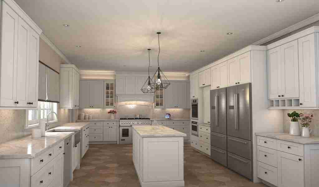 Cubitac Cabinetry Full White Cabinets in Kitchen with White Granite Countertop