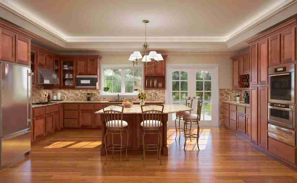 Cubitac Cabinetry Brown Cabinets in Kitchen with Countertop