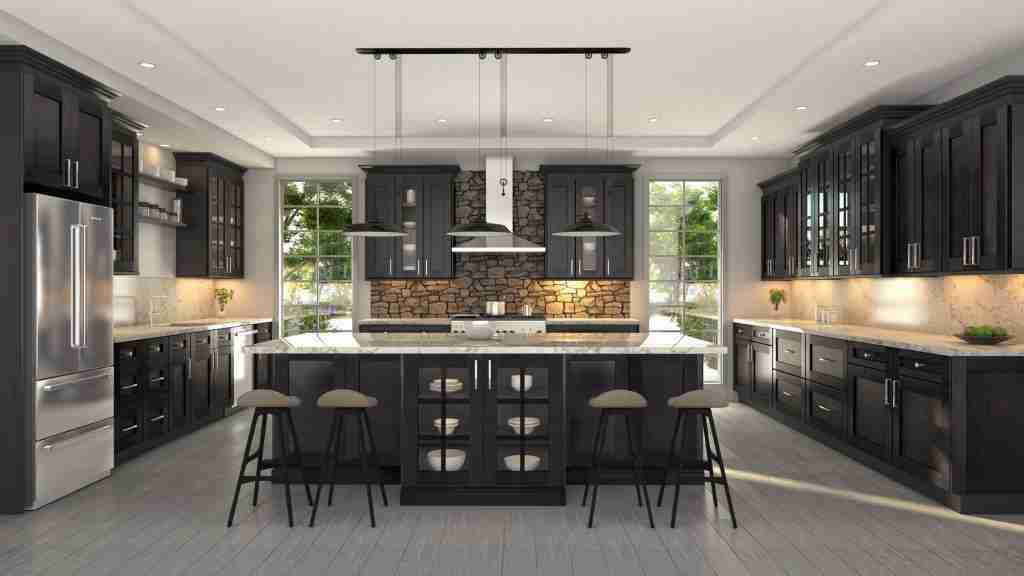 Cubitac Cabinetry Black Cabinets in Kitchen with Granite Countertop