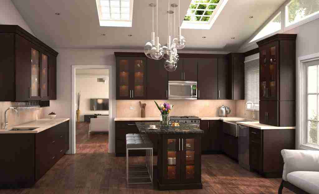 Cubitac Cabinetry Brown and White Cabinets in Kitchen