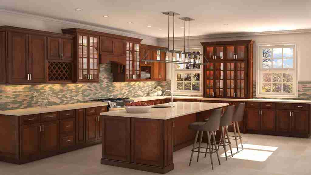 Cubitac Cabinetry Dark Brown Cabinets in Kitchen with Granite Countertop