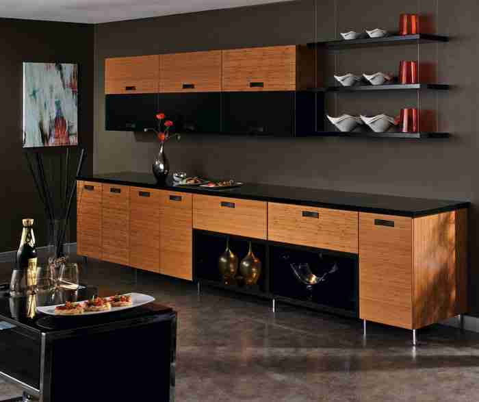 UltraCraft Cabinetry Cherry Bamboo Kitchen Cabinets in Natural