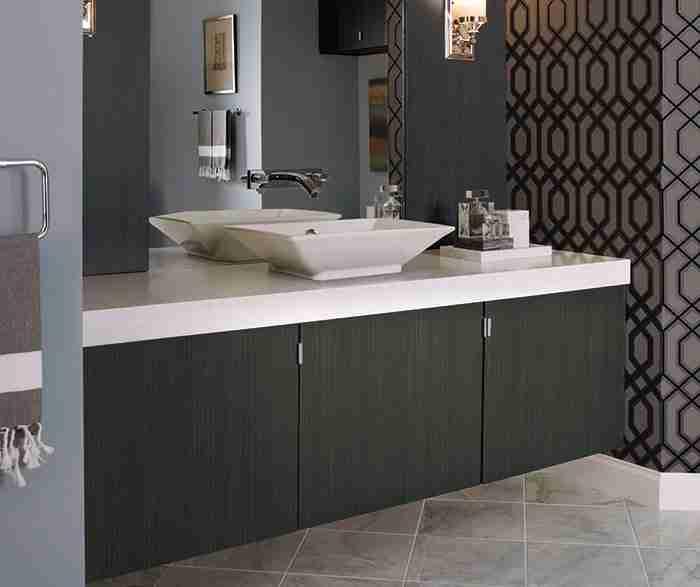 UltraCraft Cabinetry Contemporary Bathroom Vanity Hermofoil